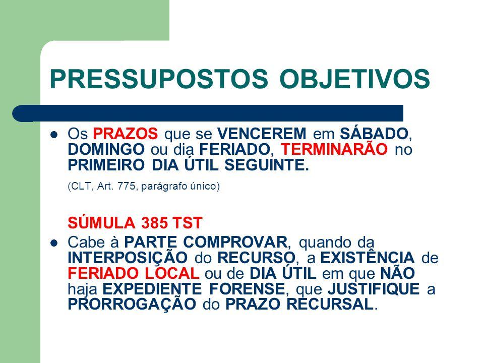 PRESSUPOSTOS OBJETIVOS  Os PRAZOS que se VENCEREM em SÁBADO, DOMINGO ou dia FERIADO, TERMINARÃO no PRIMEIRO DIA ÚTIL SEGUINTE. (CLT, Art. 775, parágr