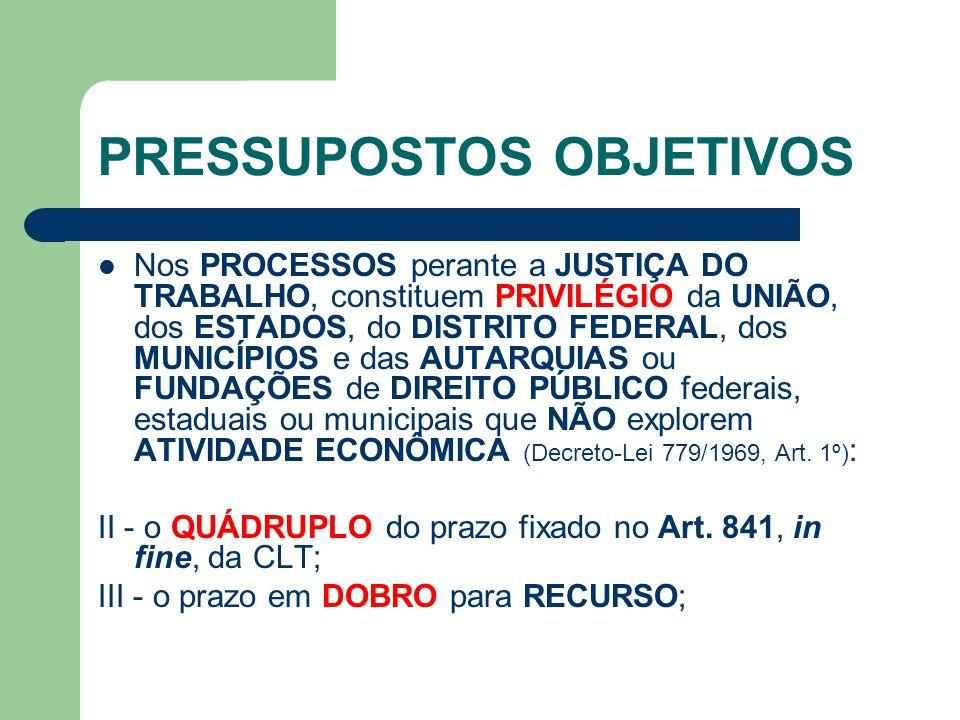 PRESSUPOSTOS OBJETIVOS  Nos PROCESSOS perante a JUSTIÇA DO TRABALHO, constituem PRIVILÉGIO da UNIÃO, dos ESTADOS, do DISTRITO FEDERAL, dos MUNICÍPIOS