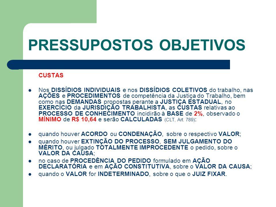 PRESSUPOSTOS OBJETIVOS CUSTAS  Nos DISSÍDIOS INDIVIDUAIS e nos DISSÍDIOS COLETIVOS do trabalho, nas AÇÕES e PROCEDIMENTOS de competência da Justiça d