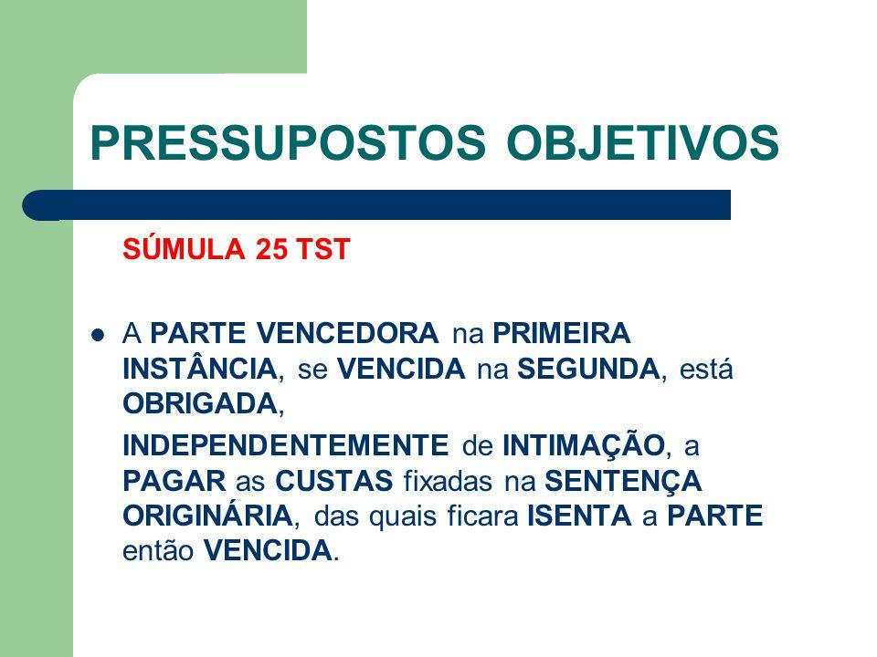 PRESSUPOSTOS OBJETIVOS SÚMULA 25 TST  A PARTE VENCEDORA na PRIMEIRA INSTÂNCIA, se VENCIDA na SEGUNDA, está OBRIGADA, INDEPENDENTEMENTE de INTIMAÇÃO,