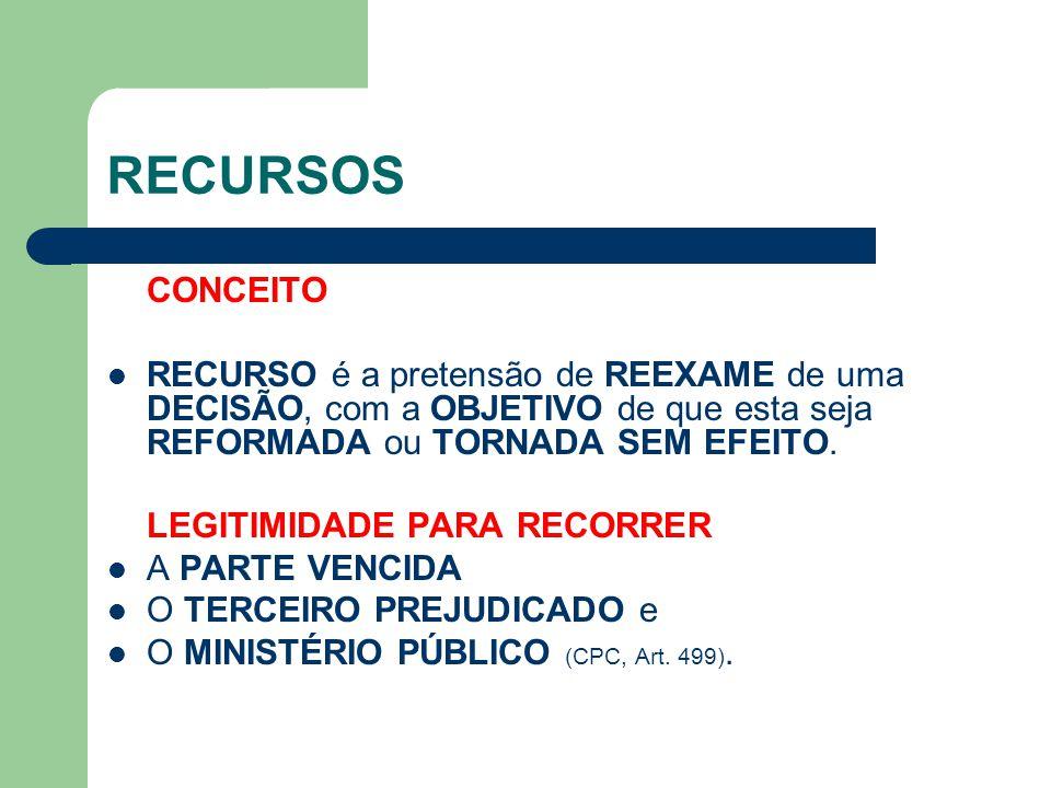 RECURSOS - CARACTERÍSTICAS IRRECORRIBILIDADE IMEDIATA DAS DECISÕES INTERLOCUTÓRIAS  Os INCIDENTES do processo são RESOLVIDOS pelo PRÓPRIO JUÍZO ou TRIBUNAL, admitindo-se a APRECIAÇÃO das DECISÕES INTERLOCUTÓRIAS SOMENTE em RECURSOS da DECISÃO DEFINITIVA (CLT, Art.