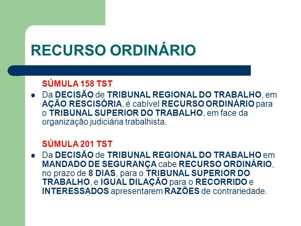 RECURSO ORDINÁRIO SÚMULA 158 TST  Da DECISÃO de TRIBUNAL REGIONAL DO TRABALHO, em AÇÃO RESCISÓRIA, é cabível RECURSO ORDINÁRIO para o TRIBUNAL SUPERI