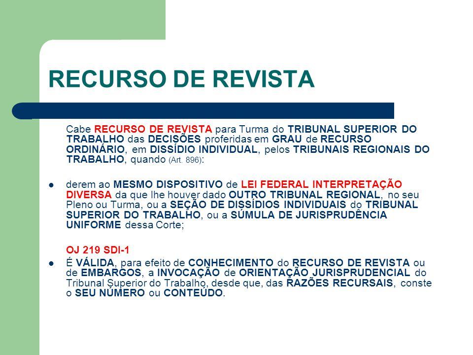 RECURSO DE REVISTA Cabe RECURSO DE REVISTA para Turma do TRIBUNAL SUPERIOR DO TRABALHO das DECISÕES proferidas em GRAU de RECURSO ORDINÁRIO, em DISSÍD