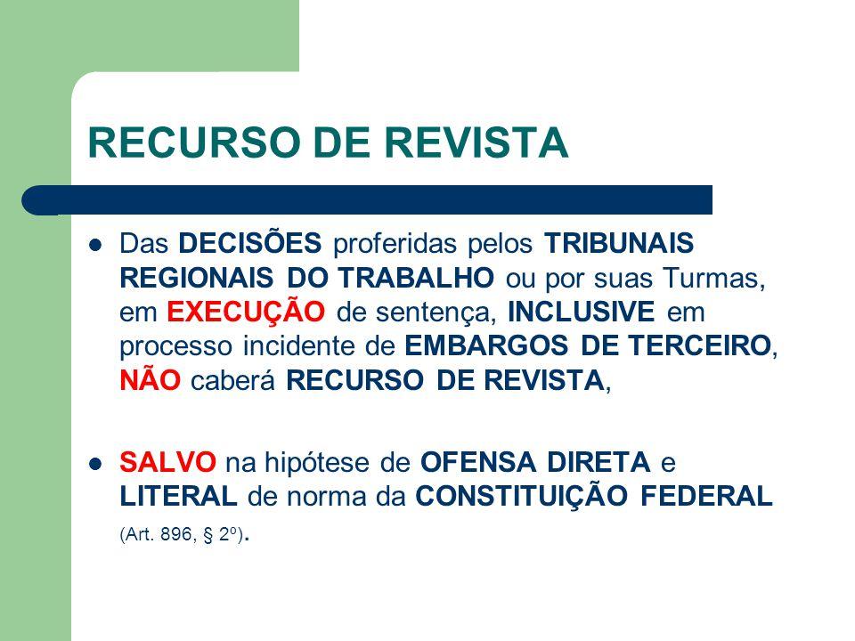 RECURSO DE REVISTA  Das DECISÕES proferidas pelos TRIBUNAIS REGIONAIS DO TRABALHO ou por suas Turmas, em EXECUÇÃO de sentença, INCLUSIVE em processo