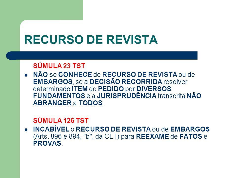RECURSO DE REVISTA SÚMULA 23 TST  NÃO se CONHECE de RECURSO DE REVISTA ou de EMBARGOS, se a DECISÃO RECORRIDA resolver determinado ITEM do PEDIDO por