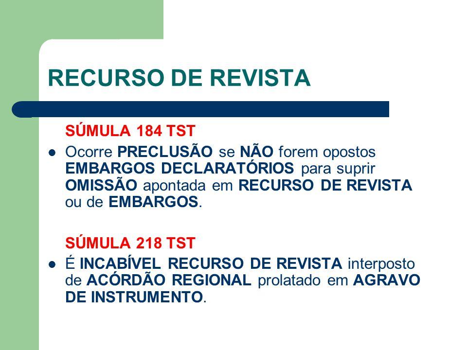 RECURSO DE REVISTA SÚMULA 184 TST  Ocorre PRECLUSÃO se NÃO forem opostos EMBARGOS DECLARATÓRIOS para suprir OMISSÃO apontada em RECURSO DE REVISTA ou