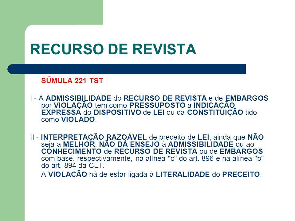 RECURSO DE REVISTA SÚMULA 221 TST I - A ADMISSIBILIDADE do RECURSO DE REVISTA e de EMBARGOS por VIOLAÇÃO tem como PRESSUPOSTO a INDICAÇÃO EXPRESSA do