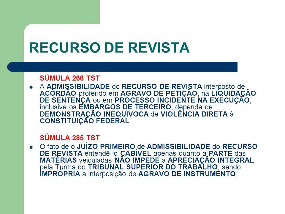 RECURSO DE REVISTA SÚMULA 266 TST  A ADMISSIBILIDADE do RECURSO DE REVISTA interposto de ACÓRDÃO proferido em AGRAVO DE PETIÇÃO, na LIQUIDAÇÃO DE SEN
