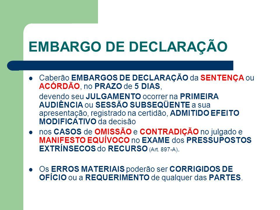 EMBARGO DE DECLARAÇÃO  Caberão EMBARGOS DE DECLARAÇÃO da SENTENÇA ou ACÓRDÃO, no PRAZO de 5 DIAS, devendo seu JULGAMENTO ocorrer na PRIMEIRA AUDIÊNCI