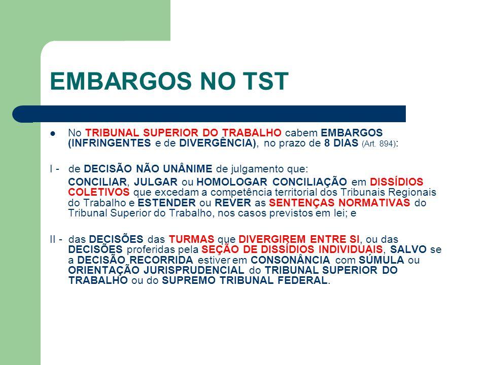 EMBARGOS NO TST  No TRIBUNAL SUPERIOR DO TRABALHO cabem EMBARGOS (INFRINGENTES e de DIVERGÊNCIA), no prazo de 8 DIAS (Art. 894) : I - de DECISÃO NÃO