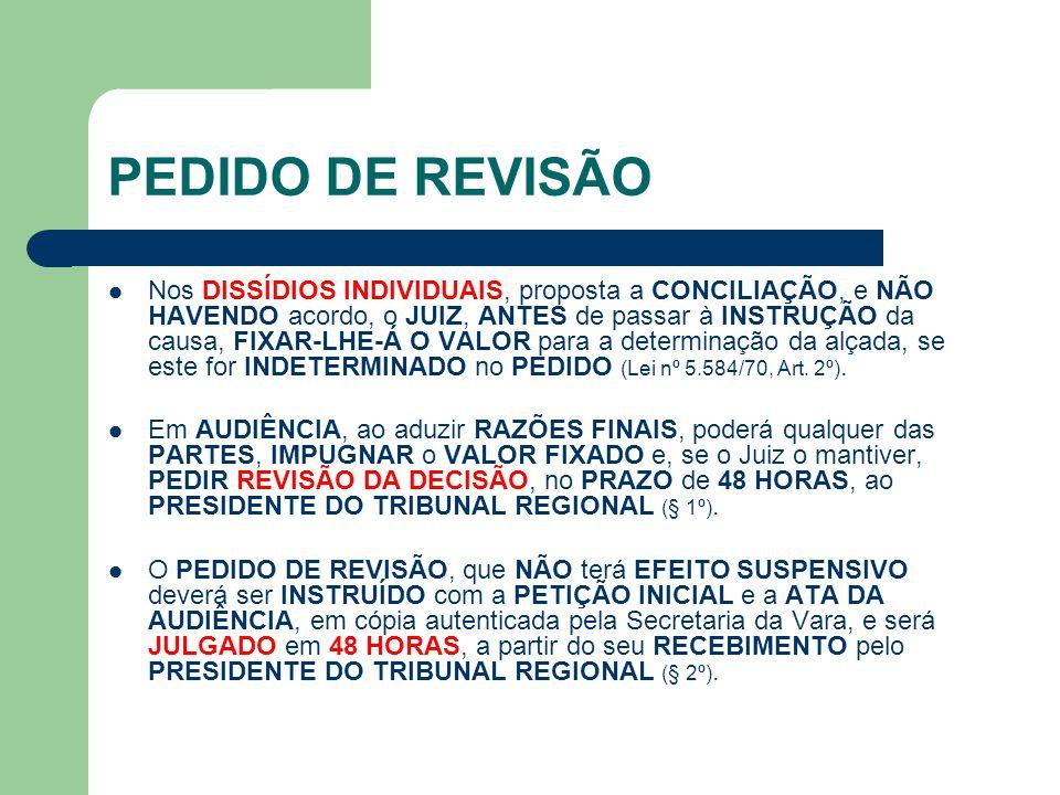 PEDIDO DE REVISÃO  Nos DISSÍDIOS INDIVIDUAIS, proposta a CONCILIAÇÃO, e NÃO HAVENDO acordo, o JUIZ, ANTES de passar à INSTRUÇÃO da causa, FIXAR-LHE-Á