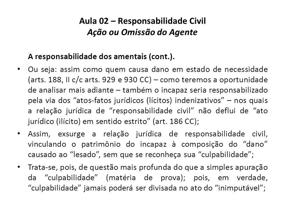 Aula 02 – Responsabilidade Civil Ação ou Omissão do Agente A responsabilidade dos amentais (cont.). • Ou seja: assim como quem causa dano em estado de