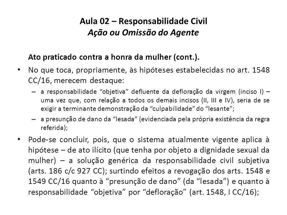 Aula 02 – Responsabilidade Civil Ação ou Omissão do Agente Ato praticado contra a honra da mulher (cont.). • No que toca, propriamente, às hipóteses e