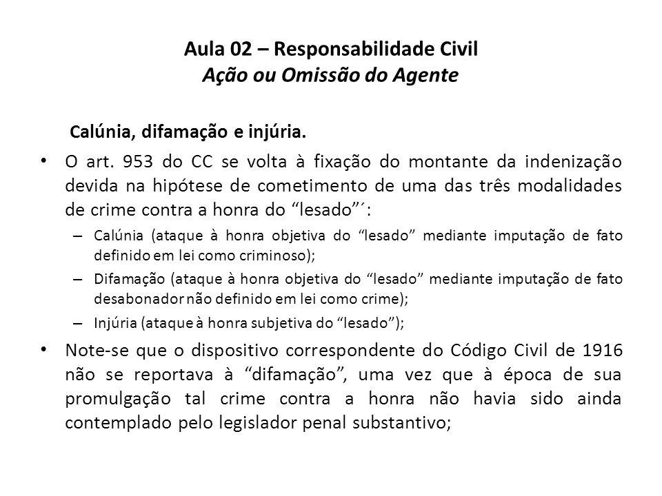 Aula 02 – Responsabilidade Civil Ação ou Omissão do Agente Calúnia, difamação e injúria. • O art. 953 do CC se volta à fixação do montante da indeniza