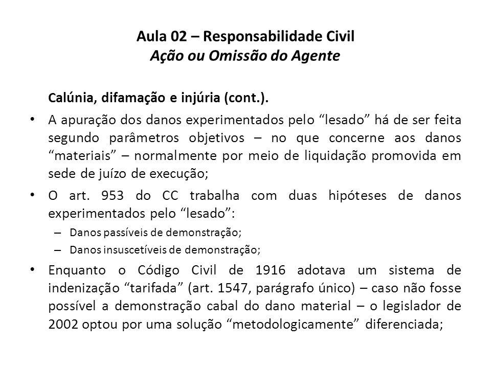 """Aula 02 – Responsabilidade Civil Ação ou Omissão do Agente Calúnia, difamação e injúria (cont.). • A apuração dos danos experimentados pelo """"lesado"""" h"""