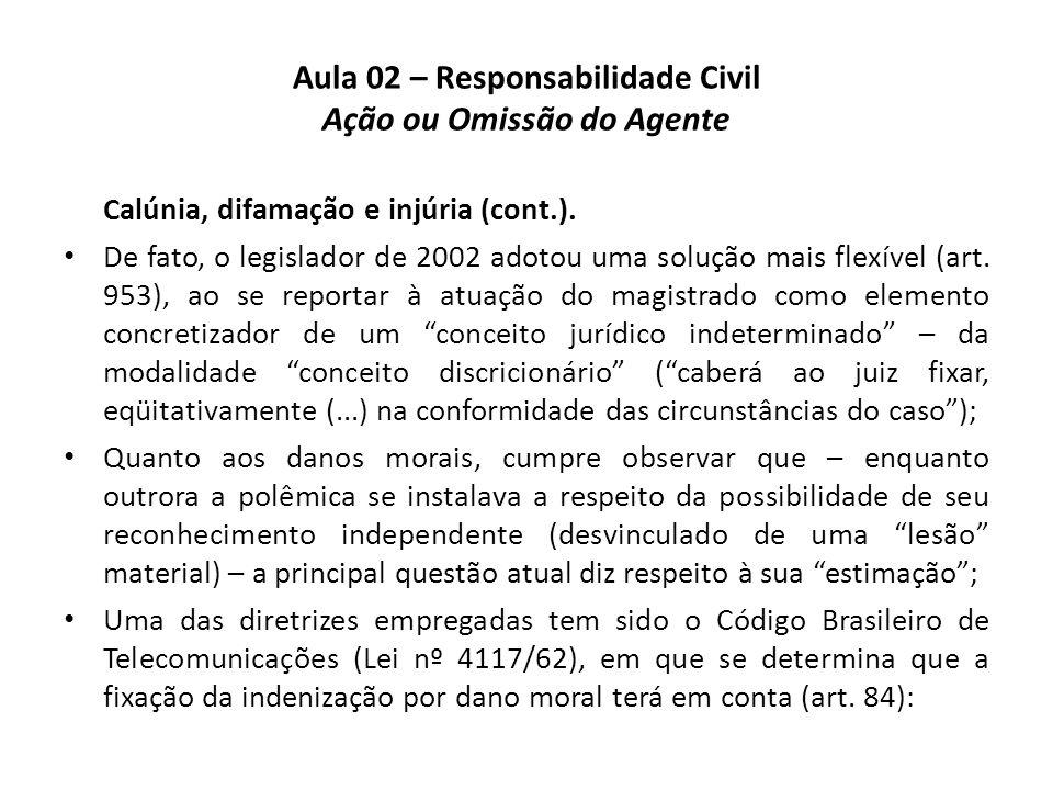 Aula 02 – Responsabilidade Civil Ação ou Omissão do Agente Calúnia, difamação e injúria (cont.). • De fato, o legislador de 2002 adotou uma solução ma