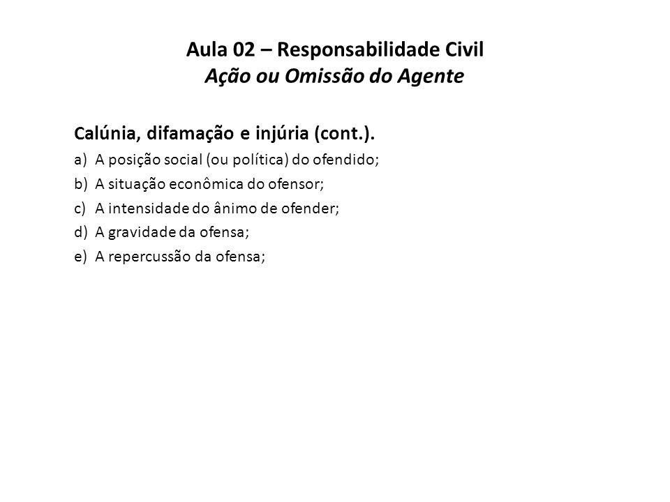 Aula 02 – Responsabilidade Civil Ação ou Omissão do Agente Calúnia, difamação e injúria (cont.). a)A posição social (ou política) do ofendido; b)A sit