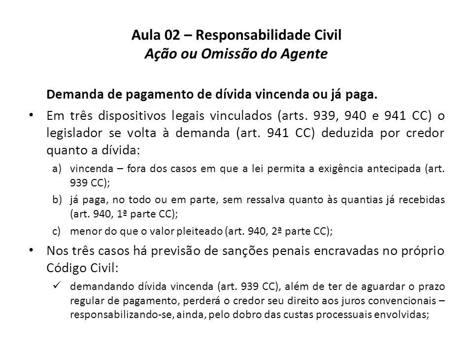 Aula 02 – Responsabilidade Civil Ação ou Omissão do Agente Demanda de pagamento de dívida vincenda ou já paga. • Em três dispositivos legais vinculado