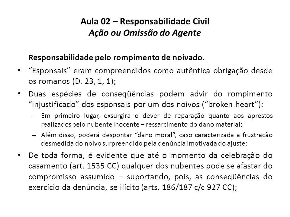 """Aula 02 – Responsabilidade Civil Ação ou Omissão do Agente Responsabilidade pelo rompimento de noivado. • """"Esponsais"""" eram compreendidos como autêntic"""