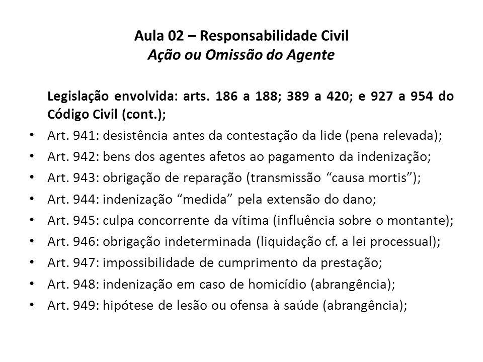 Aula 02 – Responsabilidade Civil Ação ou Omissão do Agente Legislação envolvida: arts. 186 a 188; 389 a 420; e 927 a 954 do Código Civil (cont.); • Ar