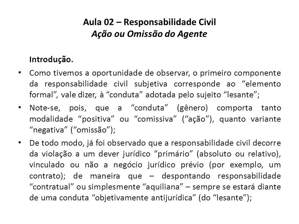 Aula 02 – Responsabilidade Civil Ação ou Omissão do Agente Introdução. • Como tivemos a oportunidade de observar, o primeiro componente da responsabil