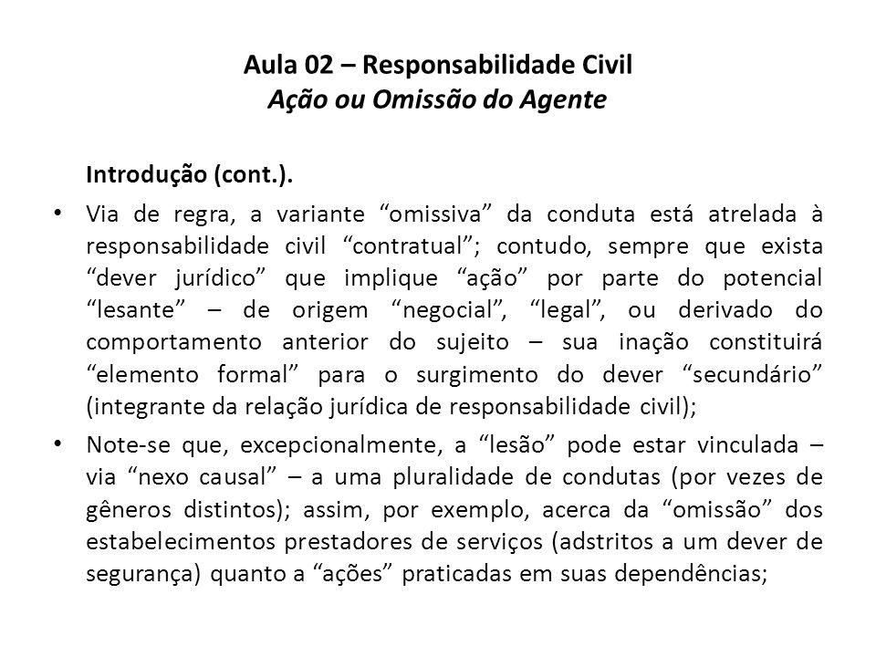 """Aula 02 – Responsabilidade Civil Ação ou Omissão do Agente Introdução (cont.). • Via de regra, a variante """"omissiva"""" da conduta está atrelada à respon"""