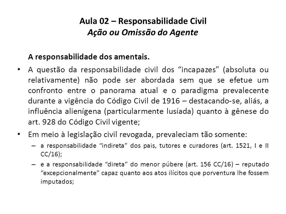 """Aula 02 – Responsabilidade Civil Ação ou Omissão do Agente A responsabilidade dos amentais. • A questão da responsabilidade civil dos """"incapazes"""" (abs"""