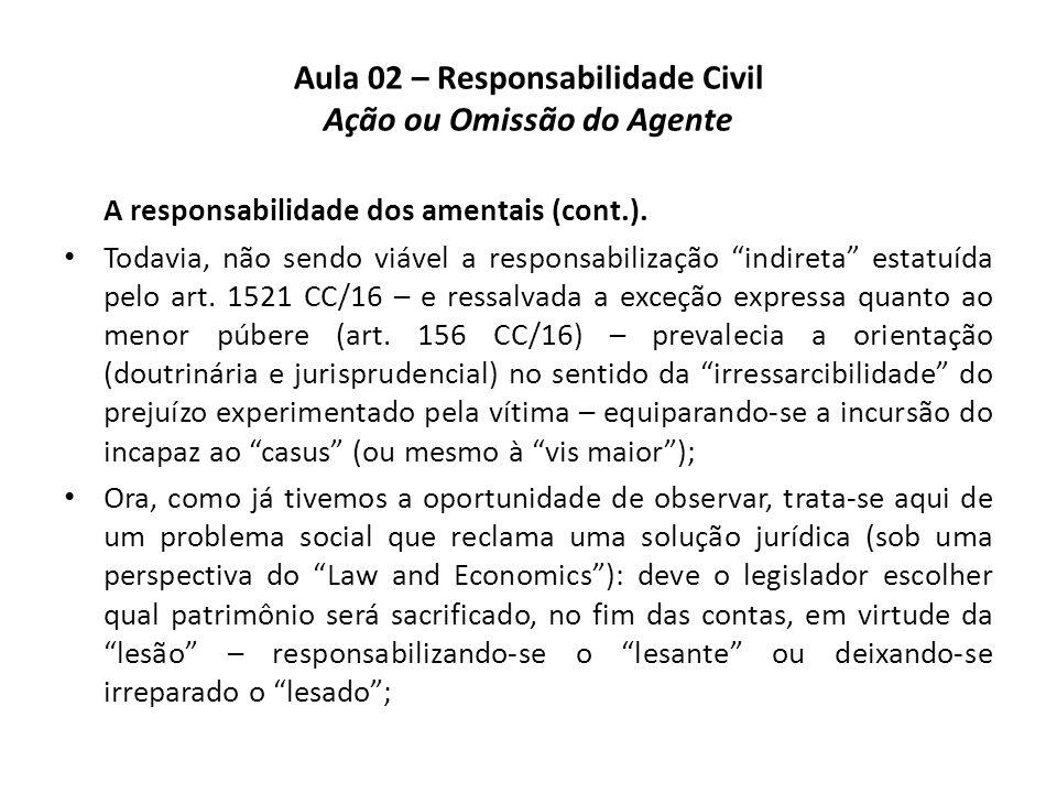 """Aula 02 – Responsabilidade Civil Ação ou Omissão do Agente A responsabilidade dos amentais (cont.). • Todavia, não sendo viável a responsabilização """"i"""