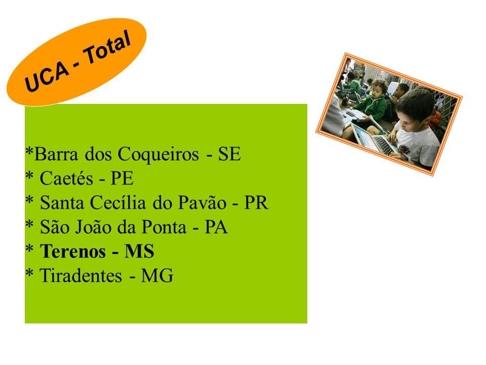 *Barra dos Coqueiros - SE * Caetés - PE * Santa Cecília do Pavão - PR * São João da Ponta - PA * Terenos - MS * Tiradentes - MG UCA - Total
