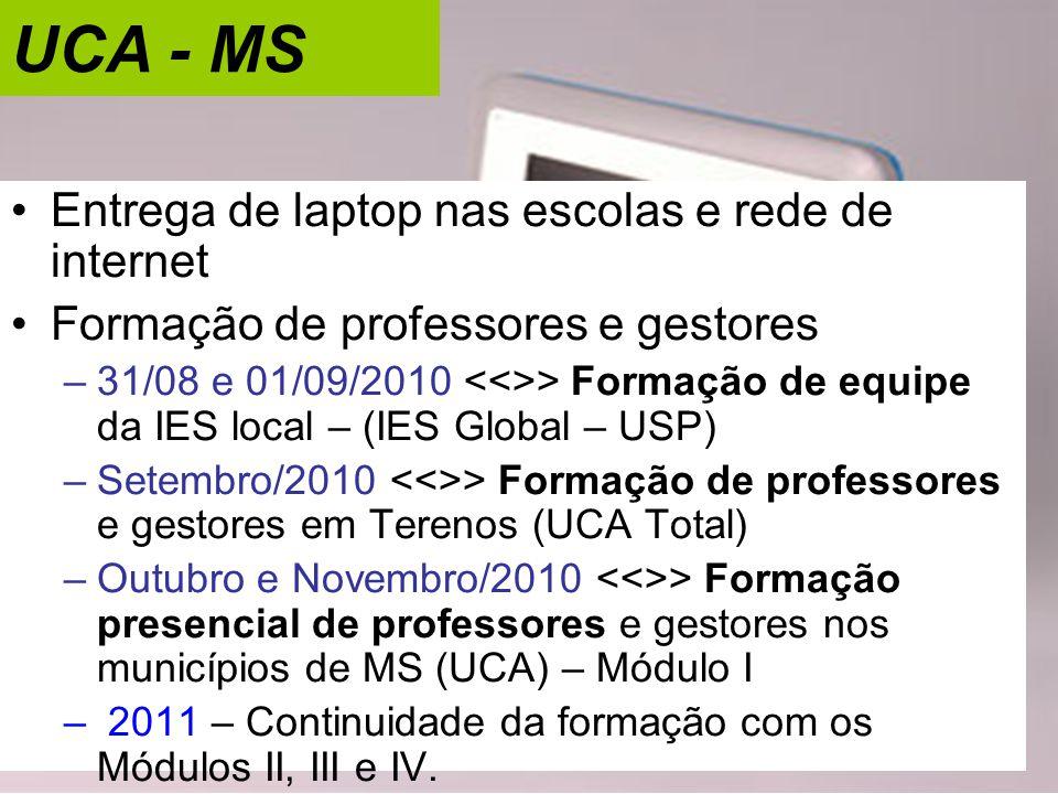 UCA - MS •Entrega de laptop nas escolas e rede de internet •Formação de professores e gestores –31/08 e 01/09/2010 > Formação de equipe da IES local –