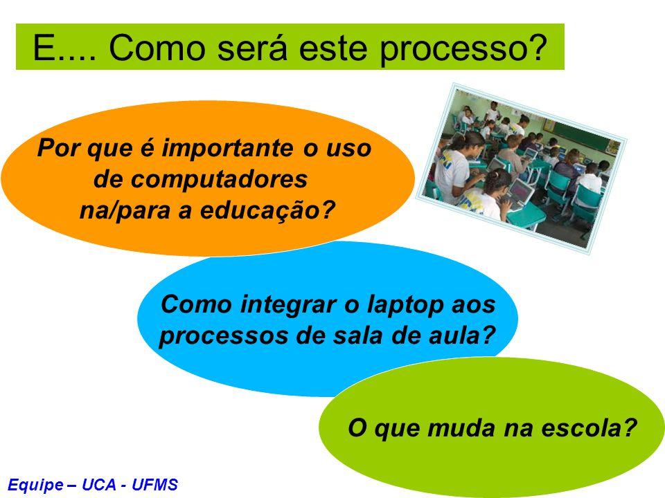 E.... Como será este processo? Como integrar o laptop aos processos de sala de aula? Por que é importante o uso de computadores na/para a educação? O