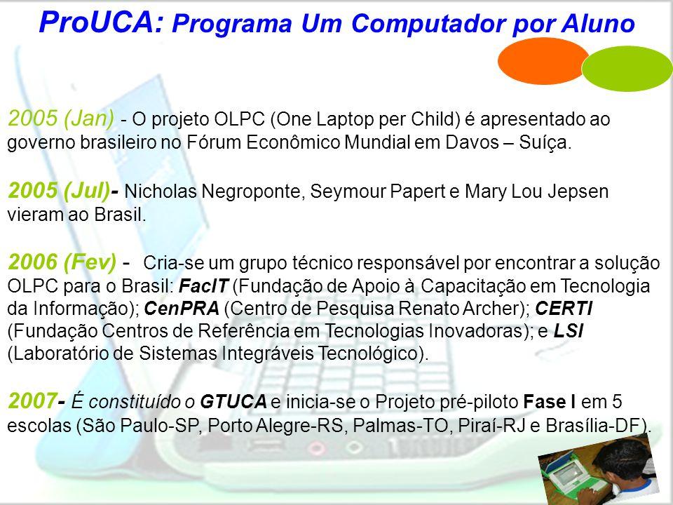 @@ PROUCA: Fase I (pré-piloto) •Porto Alegre – XO (OLPC) •Palmas – Classmate (Intel) •Brasília – Móbilis (Encore) •São Paulo – XO •Piraí - Classmate >> Realização de experimentações de cunho pedagógico.