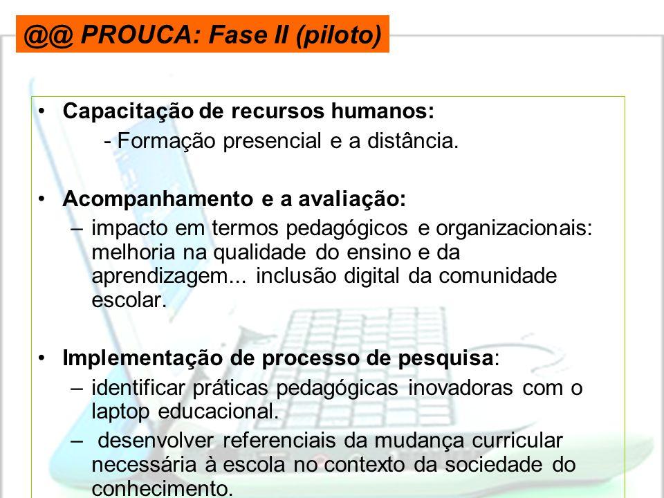 •Capacitação de recursos humanos: - Formação presencial e a distância. •Acompanhamento e a avaliação: –impacto em termos pedagógicos e organizacionais