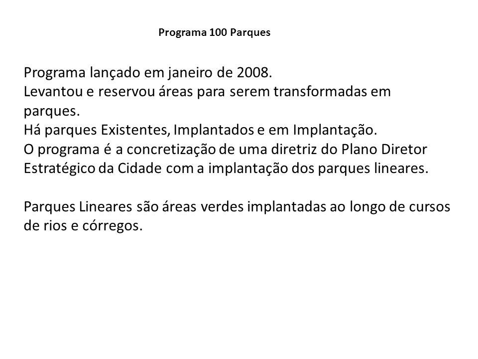 Programa 100 Parques Programa lançado em janeiro de 2008. Levantou e reservou áreas para serem transformadas em parques. Há parques Existentes, Implan