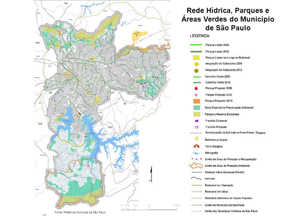 Rede Hídrica, Parques e Áreas Verdes do Município de São Paulo Fonte: Prefeitura Municipal de São Paulo