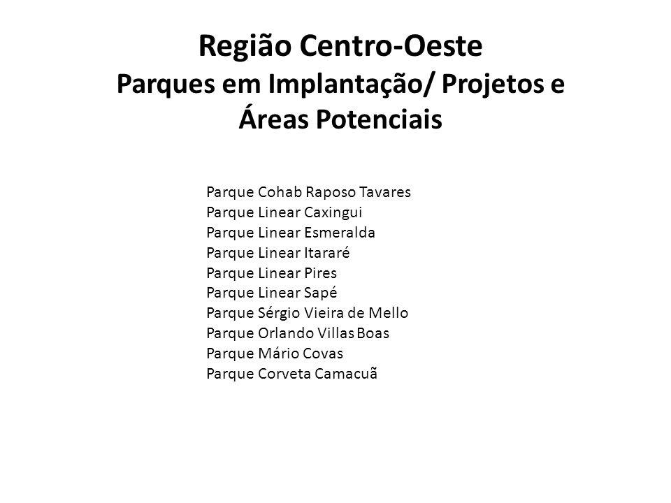 Região Centro-Oeste Parques em Implantação/ Projetos e Áreas Potenciais Parque Cohab Raposo Tavares Parque Linear Caxingui Parque Linear Esmeralda Par