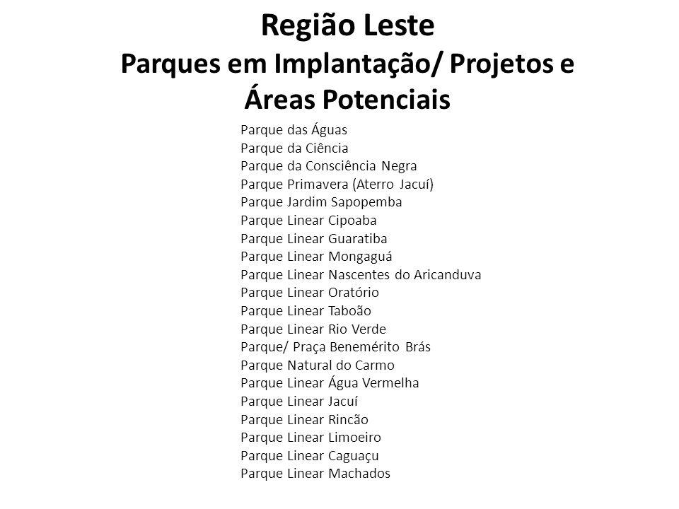 Região Leste Parques em Implantação/ Projetos e Áreas Potenciais Parque das Águas Parque da Ciência Parque da Consciência Negra Parque Primavera (Ater