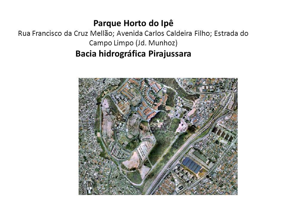 Parque Horto do Ipê Rua Francisco da Cruz Mellão; Avenida Carlos Caldeira Filho; Estrada do Campo Limpo (Jd. Munhoz) Bacia hidrográfica Pirajussara