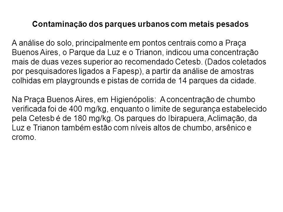 Contaminação dos parques urbanos com metais pesados A análise do solo, principalmente em pontos centrais como a Praça Buenos Aires, o Parque da Luz e