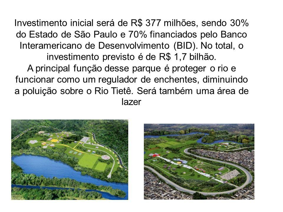 Investimento inicial será de R$ 377 milhões, sendo 30% do Estado de São Paulo e 70% financiados pelo Banco Interamericano de Desenvolvimento (BID). No