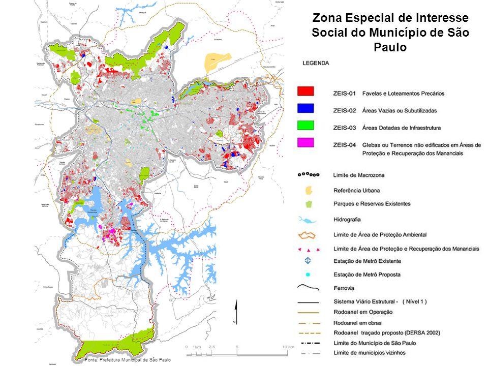 Zona Especial de Interesse Social do Município de São Paulo Fonte: Prefeitura Municipal de São Paulo