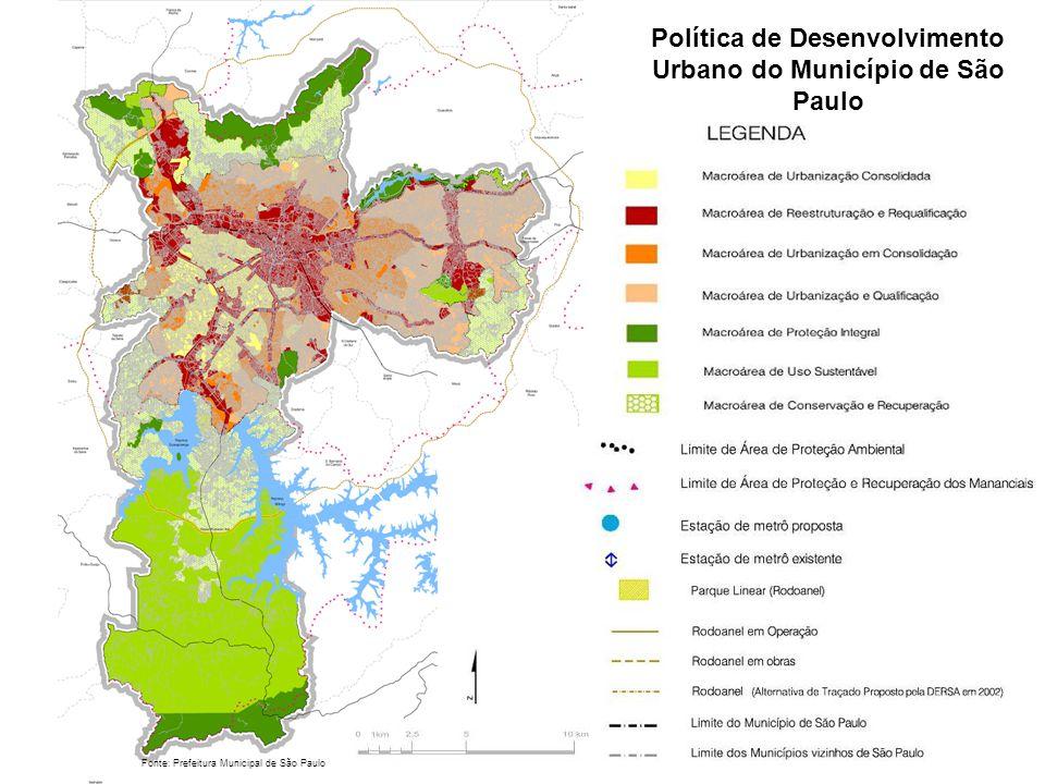 Política de Desenvolvimento Urbano do Município de São Paulo Fonte: Prefeitura Municipal de São Paulo