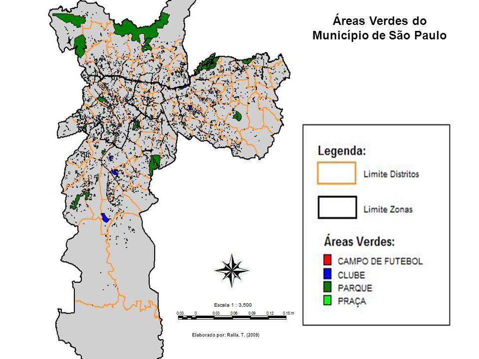 Áreas Verdes do Município de São Paulo Elaborado por: Ralla, T. (2009)