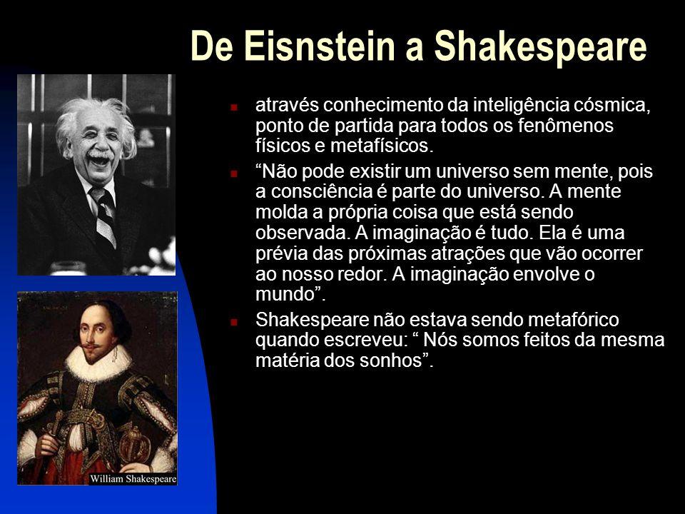 De Eisnstein a Shakespeare  através conhecimento da inteligência cósmica, ponto de partida para todos os fenômenos físicos e metafísicos.
