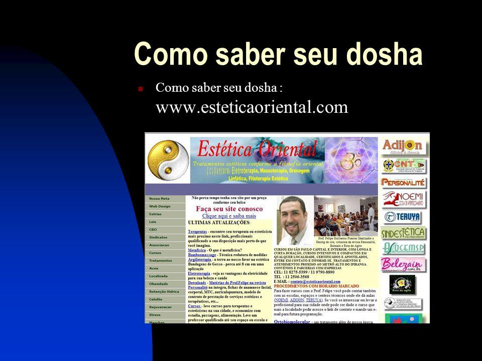 Como saber seu dosha  Como saber seu dosha : www.esteticaoriental.com