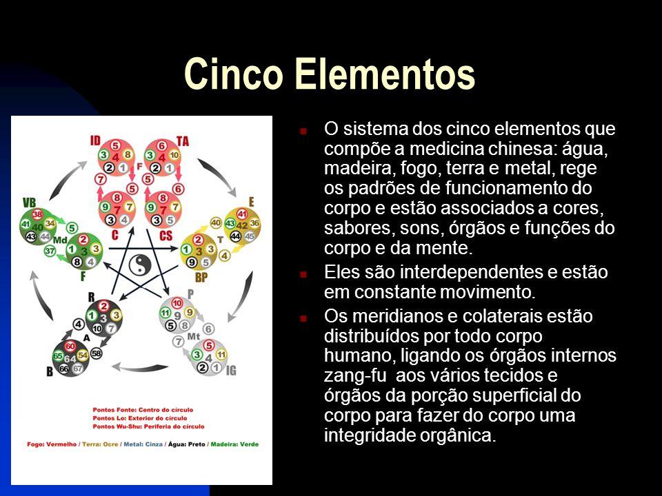 Cinco Elementos  O sistema dos cinco elementos que compõe a medicina chinesa: água, madeira, fogo, terra e metal, rege os padrões de funcionamento do corpo e estão associados a cores, sabores, sons, órgãos e funções do corpo e da mente.