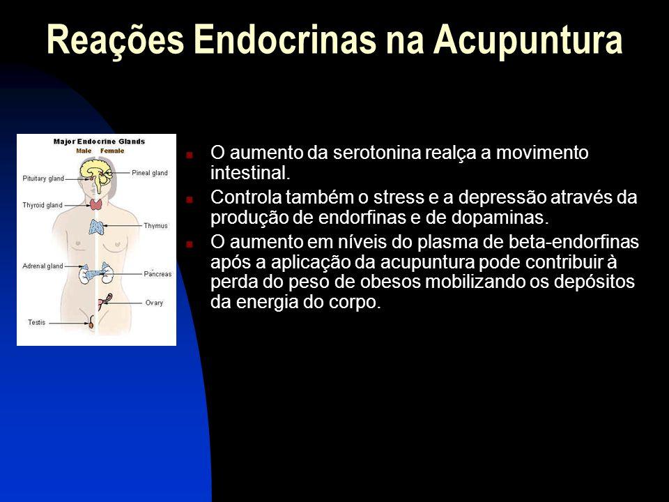 Reações Endocrinas na Acupuntura  O aumento da serotonina realça a movimento intestinal.