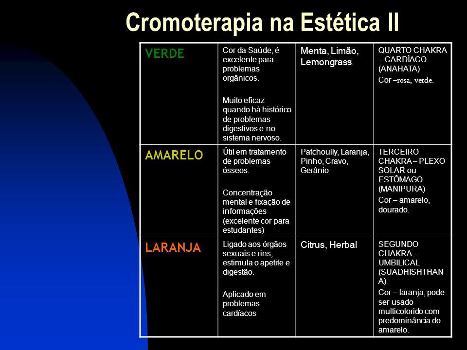 Cromoterapia na Estética CORCaracter í sticas Ó leos RelacionadosObserva ç ões VIOLETA Cor da transmutação, útil em pessoas resistentes às mudanças do