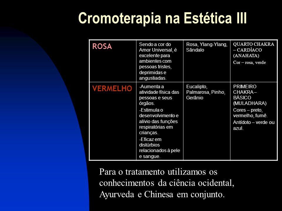 Cromoterapia na Estética III ROSA Sendo a cor do Amor Universal, é excelente para ambientes com pessoas tristes, deprimidas e angustiadas.
