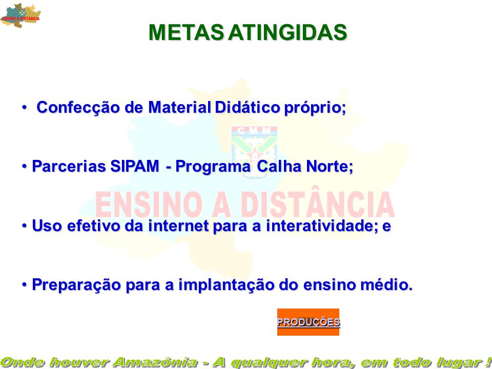 •Curso para Formação de Orientadores ( via EAD); • Confecção de Materiais complementares e trabalhos interdisciplinares; • Novos princípios de avaliaç
